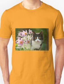 Cat looking through pasque flowers Unisex T-Shirt