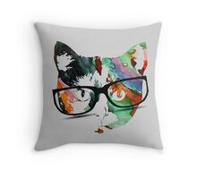 Hipster calico kitty cat Throw Pillow