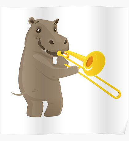 Funny hippo playing music with trombone Poster