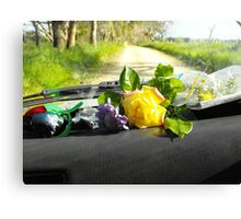 Sunday drive gathering flowers Canvas Print