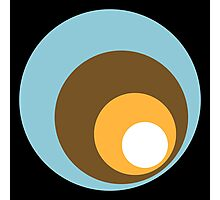Retro Circles Black Blue Brown Orange White Photographic Print