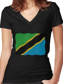 Tanzania flag Women's Fitted V-Neck T-Shirt