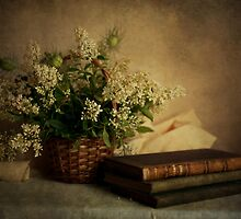 Still life with old books and white flowers in the basket by JBlaminsky