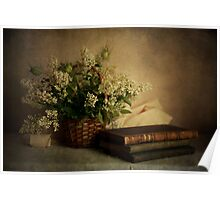 Still life with old books and white flowers in the basket Poster
