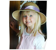 Lovely Young Blonde Girl in Straw Hat Poster