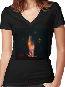 Flame Creation Women's Fitted V-Neck T-Shirt
