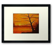 Sunset over the lake. Framed Print