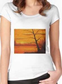 Sunset over the lake. Women's Fitted Scoop T-Shirt