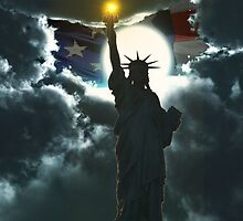 Statue of Liberty with American Flag by Edmond  Hogge