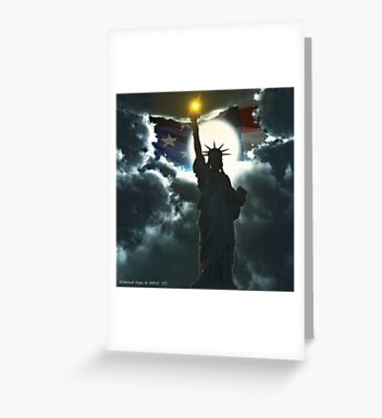 Statue of Liberty with American Flag Greeting Card