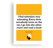 On Books - Groucho Marx Canvas Print