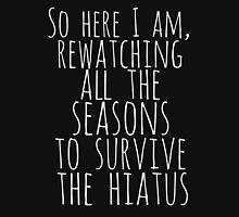 so here i am, rewatching all the seasons to survive the hiatus (white) Womens Fitted T-Shirt