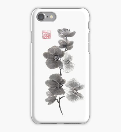 Curious orchid sumi-e painting  iPhone Case/Skin