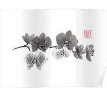 Curious orchid sumi-e painting  Poster