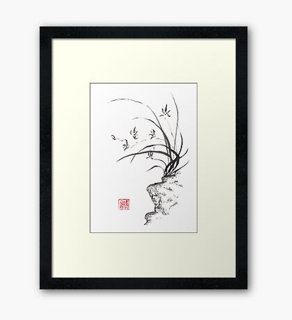 Dancing on the edge sumi-e painting  Framed Print