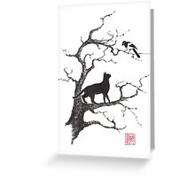 Dangerous conversations sumi-e painting Greeting Card