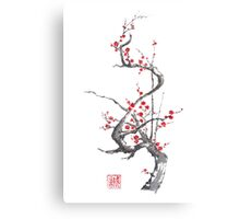 Chinese plum tree blossom sumi-e painting Canvas Print