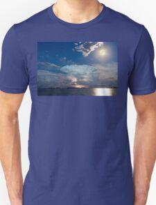 Lake Lightning Thunderstorm Striking and Full Moon   T-Shirt