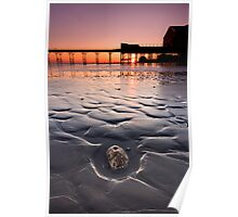 The stone and the pier at sunset Poster