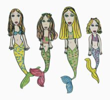Tane's Drawing of My Girls as Mermaids One Piece - Short Sleeve
