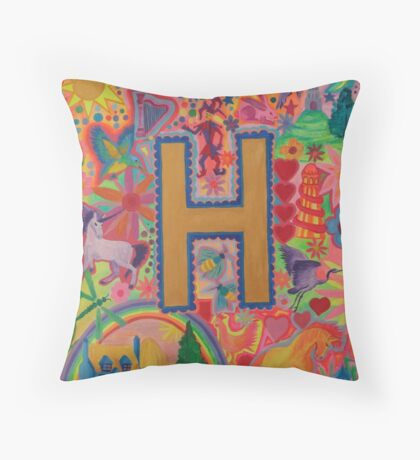 Initial H Throw Pillow