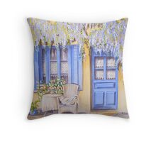 Blue shutters with wisteria Throw Pillow
