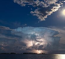 Lake Lightning Thunderstorm and Full Moon by Bo Insogna