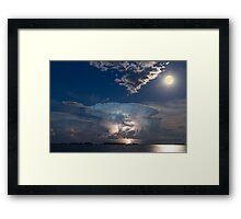 Lake Lightning Thunderstorm and Full Moon Framed Print