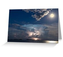 Lake Lightning Thunderstorm and Full Moon Greeting Card