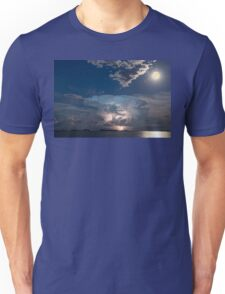 Lake Lightning Thunderstorm and Full Moon Unisex T-Shirt
