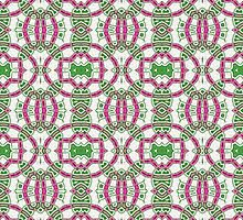 Green, Pink and White Abstract Design Pattern by Mercury McCutcheon