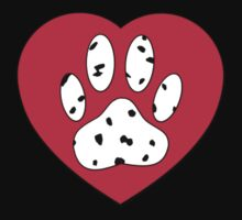 Dalmatian Paw Print In Red Heart by Almdrs