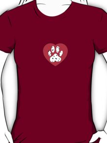 Dalmatian Paw Print In Red Heart T-Shirt