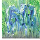 Horses- Green and Blue by Tracy Manning