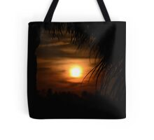 Sunset through the palm leaves Tote Bag