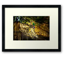 Kids Playing on the monuments of MacKenzie-King Estate Framed Print