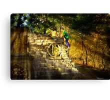 Kids Playing on the monuments of MacKenzie-King Estate Canvas Print