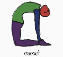 Painting of camel yoga pose with Sanskrit text. Kids Tee