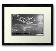 Full Moon Lightning Storm in Black and White Framed Print