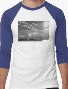 Full Moon Lightning Storm in Black and White Men's Baseball ¾ T-Shirt