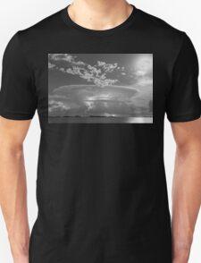 Full Moon Lightning Storm in Black and White T-Shirt