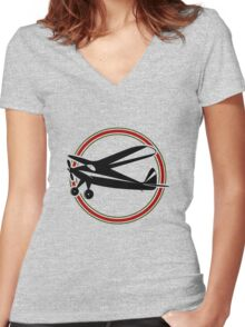 Vintage airplane Women's Fitted V-Neck T-Shirt