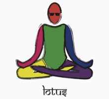 Painting of lotus yoga pose with Sanskrit text. Kids Tee