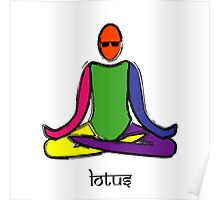 Painting of lotus yoga pose with Sanskrit text. Poster