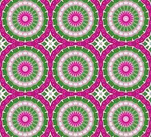 Pink, Green and White Abstract Design Pattern by Mercury McCutcheon