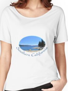 Gorgeous south California heavenly blue lake, blue sky and sandy beach with trees and mountain. Women's Relaxed Fit T-Shirt