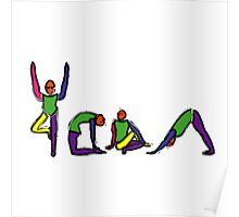 Painting of yoga poses spelling YOGA. Poster