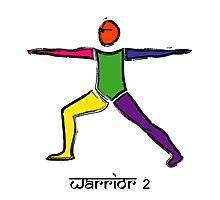 Painting of warrior 2 yoga pose & Sanskrit text. Photographic Print