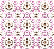 Pink, White and Brown Abstract Design Pattern by Mercury McCutcheon