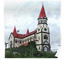 White Church Red Roof Poster